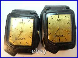 Casio Vintage Flip Top Calculator Watches For Restoration Or Parts Lot Of 4
