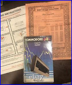 Commodore 64 Computer Powers Up Original Box Papers Cord Parts Repair As Is