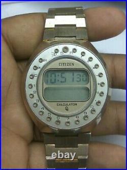 Vintage Citizen 59-2021 Calculator LCD Digital G. P Watch For Parts & Repairs